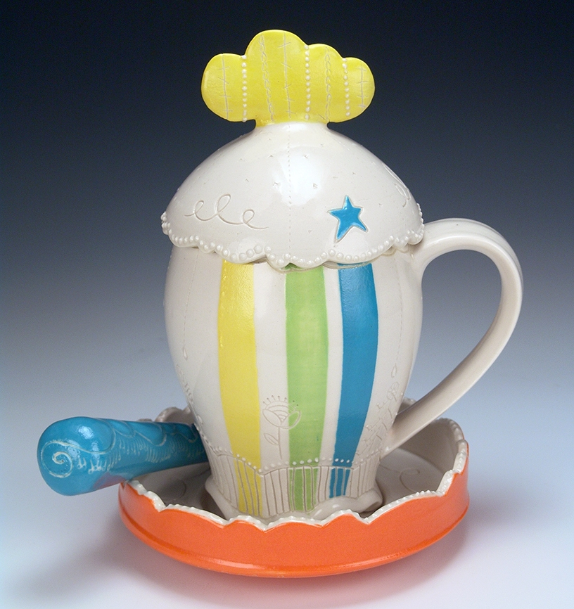 Cloud and Stripes Lidded Mugs with Saucer and Spoon 2