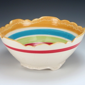 Flowers and Stripes Bowl