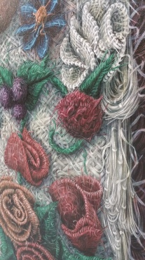 Detail of the 9 ft x 7 ft painting of tiny RIBBONS. Pictures don't do this justice.