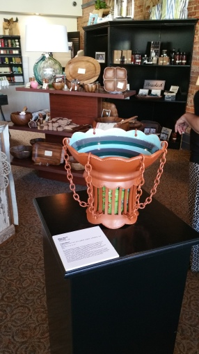 """""""Caged Bowl"""" on display in Main Street Mercantile."""